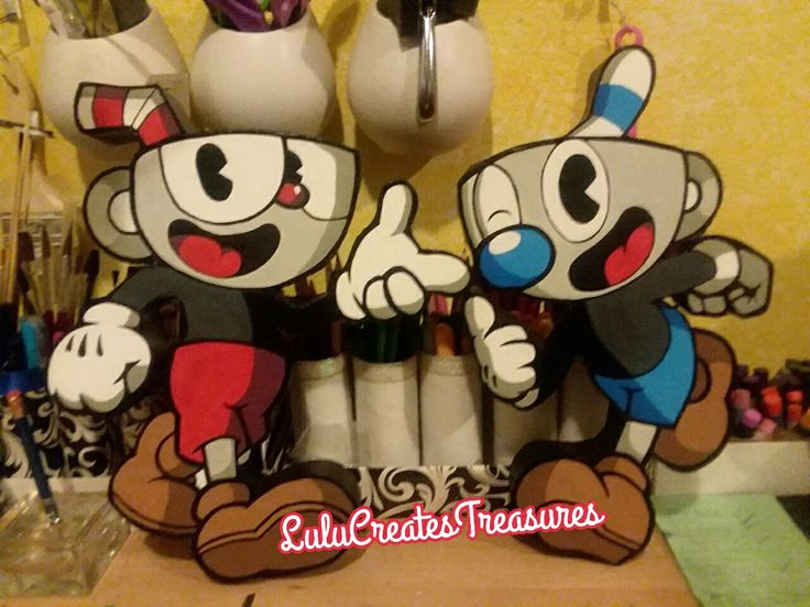 Made this gaming duo #Cuphead and #Mugman #DontDealWithTheDevil #CardboardCreation #PosterBoard #DIY #Cardboard #Recycle