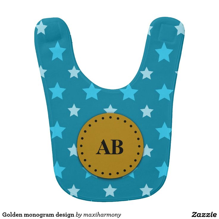 Golden monogram design bibs