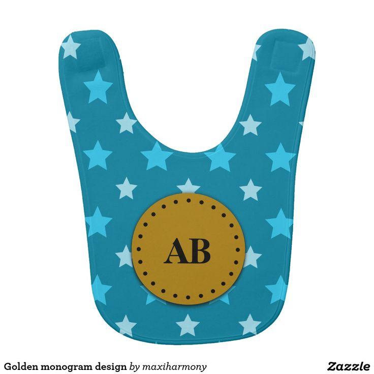 Golden monogram design bibs