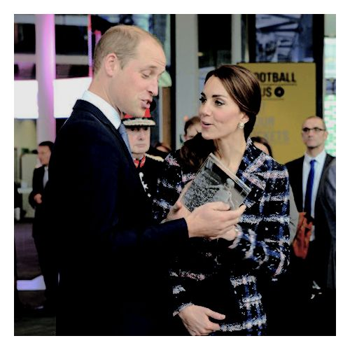 Before the Duke & Duchess of Cambridge left Manchester today they received a Manchester City football for George, a mini kit four Charlotte, cuddly mascots and two life-sized replica 1966 World Cup footballs, which were next to a photo of William kicking a ball when it was a child which made Kate smile.