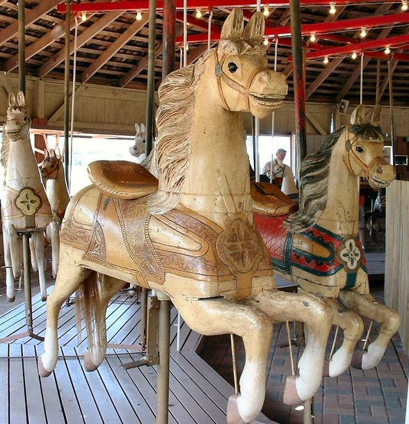 The 1912 C. W. Parker Carousel at Firemens Park in Brenham, TX. Tooled Leather Horse.