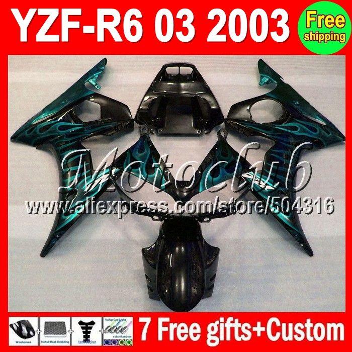 Голубой пламя для YAMAHA 03 2003 R6 R 6 2003 голубой пламя черный YZF R6 MK298 YZF-R6 YZF600 MC93 YZFR6 R6 R 6 зализа 7 подарки