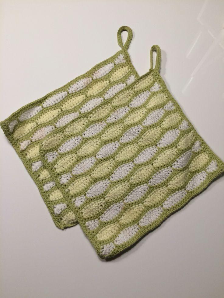 Grydelapper i murstensmønster #crochet #hækling #grydelapper #potholder #DIY