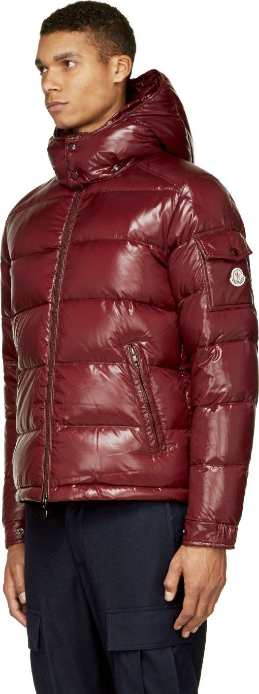 moncler grey down montgenevre jacket; moncler burgundy quilted down maya jacket