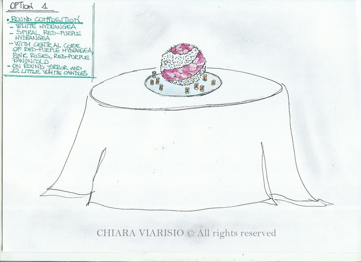 II drawing an idea of centerpiece  Wedding Lake Maggiore  www.weddingplanneritaly.co.uk