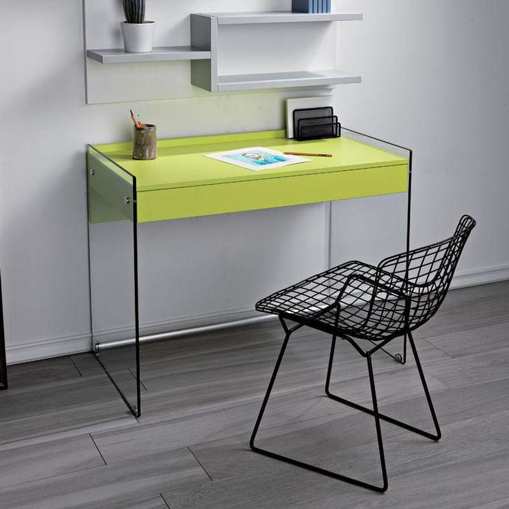 Scrivania portacomputer MYDESK Verde con struttura in vetro temperato da 10mm cassetto estraibile Mydesk