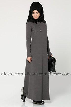 Deri Kapşonlu Elbise