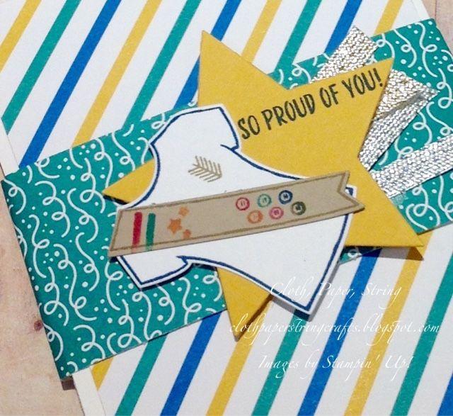 Girl Scout mechanical fold graduation card Stampin' Up! Tee-Shirt Builder bundle.