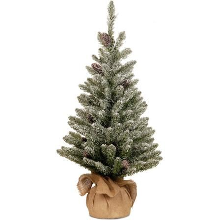 National Tree Unlit 3' Snowy Concolor Fir Small Artificial Christmas Tree in Burlap with Snowy Cones - Walmart.com