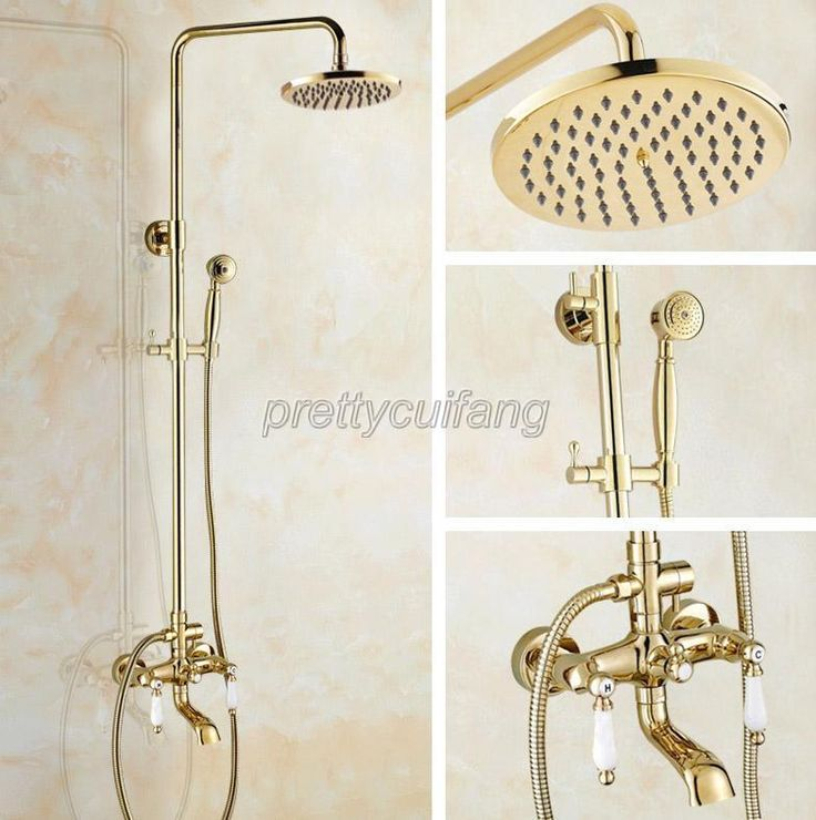 luxury gold color brass wall mounted bathroom shower faucet set mixer tap pgf364