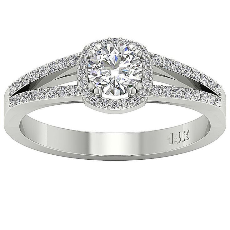Split Shank 1.01 Ct Real Diamond White Gold Halo Solitaire Anniversary Ring Band #DiamondForGood #SolitairewithAccents