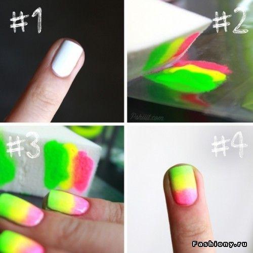 How to get the ombre stain nails look - Beauty Tutorials: Nails Art, Nailart, Beautiful, Summer Nails, Nails Ideas, Gradient Nails, Neon Nails, Rainbows Nails, Nails Tutorials