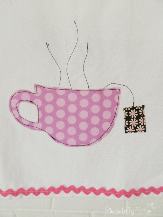 Dish Towel with a tea cup applique by PiecefullyHome on Etsy, $10.00