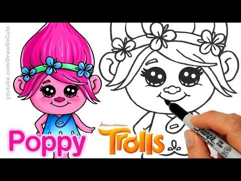 How to Draw Poppy from Trolls Movie step by step Cute and Easy - YouTube