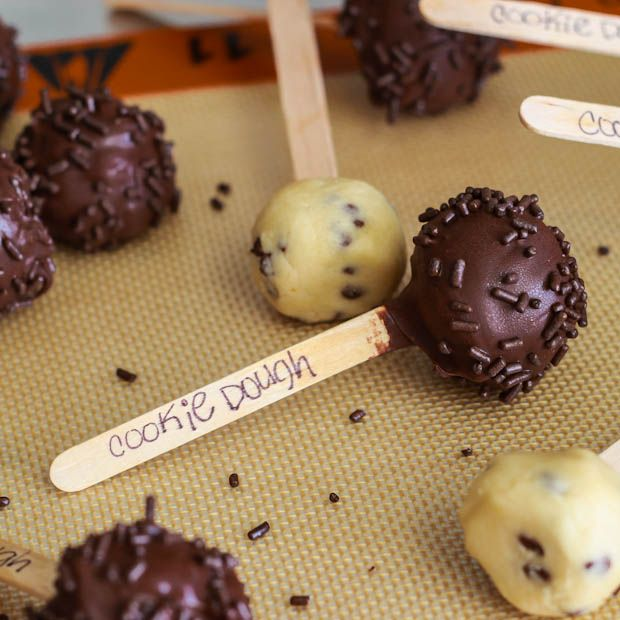 Cookie Dough Pops (7 of 1)  I would not call these healthy but they are for those of you who eat way more cookie dough than cookies while making. No eggs to make you sick! |Pinned from PinTo for iPad|