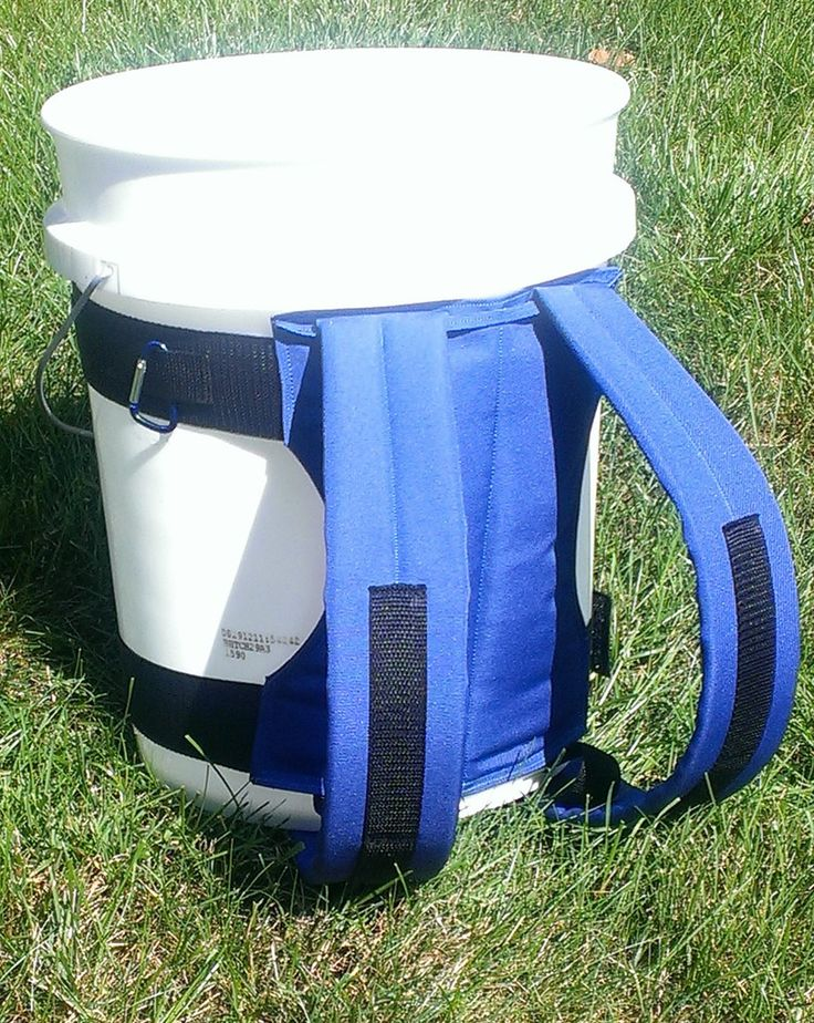 5 gal bucket back pack! love this idea for a 72hr kit. waterproof, lid doubles as a seat and could easily be diy. even make a smaller version from a 2.5 gal for kiddos. http://Just-InCaseDeck.com