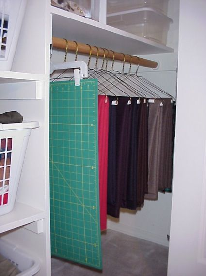 Closet storage for sewing and quilting. Lots of other great ideas for organizing sewing, quilting and craft items on this site.