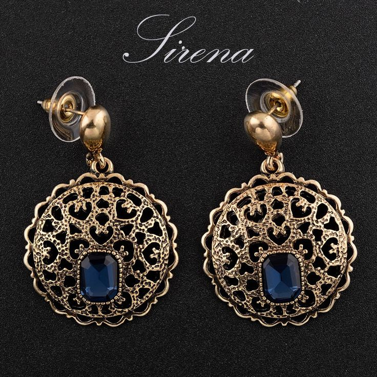 EC033 EC034 2015 Antique Gold Color Vintage Luxury Dangle Drop Austrian Czech Crystal Rhinestone Earrings Jewelry Gift For Women