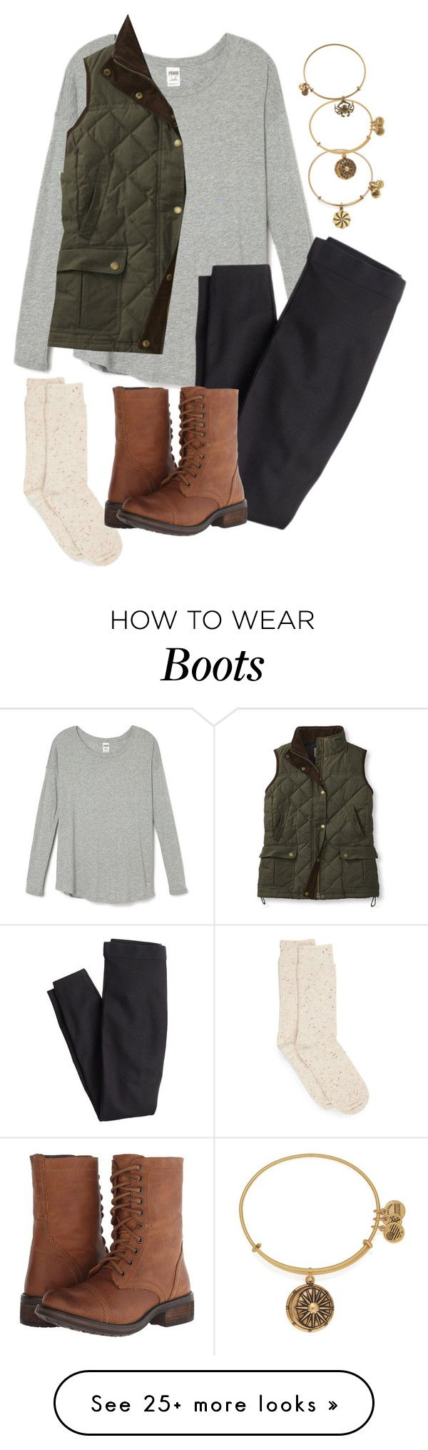 """""""L.L. Bean Vest and Boots"""" by northernprep-nl12 on Polyvore featuring Hue, J.Crew, Steve Madden and Alex and Ani"""