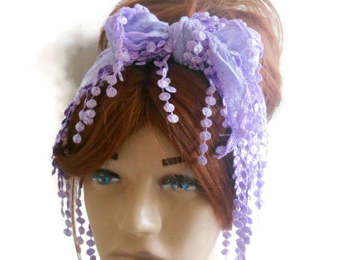 Hair Bandana Eşarp, Lace Hair Band, Adult Lace Head Band, Head Bandana, Scarf Bandana, Lilac Headband, Headband, Women Bandana, Women Scarf by MimosaKnitting on Etsy