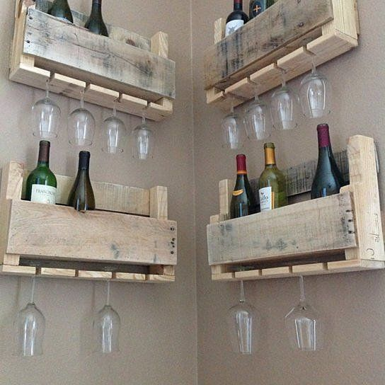 Made out of %100 reclaimed wood, this piece is sure to catch attention in your house for it's unique and one of a kind style.Style meets full functionality with these wine racks holding 4 wine bottles and up to 4 long stem wine glasses. These are great to wrap around a corner or go all the way up the wall!Because it is made of reclaimed pallet wood, not every board will be cut to perfection hence the raw and vintage appeal of this one and only wine rack. Materials: Pallet wood Ca...