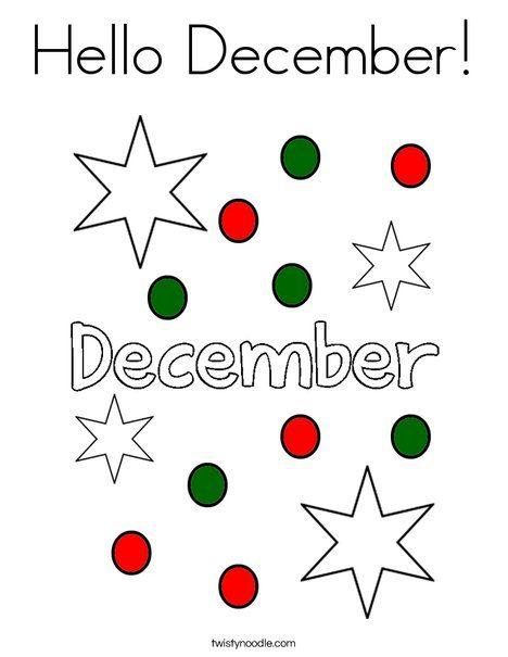 Hello December Coloring Page - Twisty Noodle | Hello ...