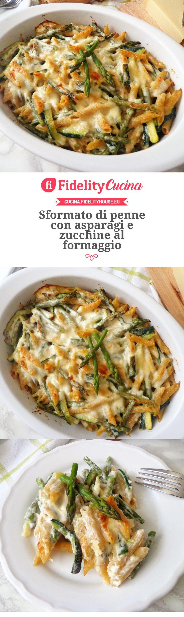 Sformato di penne con asparagi e zucchine al formaggio