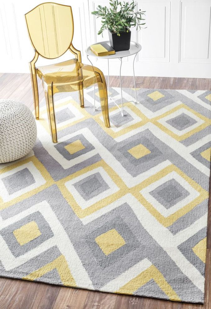 Stone Gray And Golden Yellow Patterned Rug Dove Gray Stone Gray