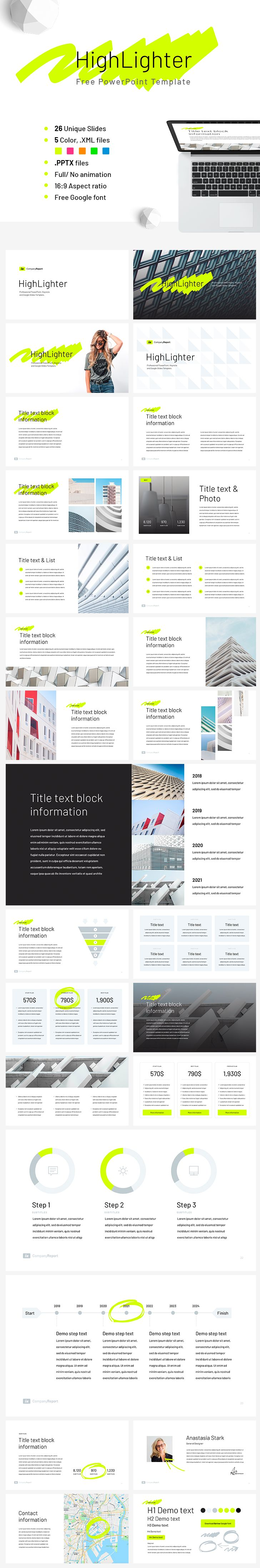 40 best free powerpoint template images on pinterest free stencils free powerpoint template company report highlighter 26 unique slides 5 pre made color toneelgroepblik Choice Image