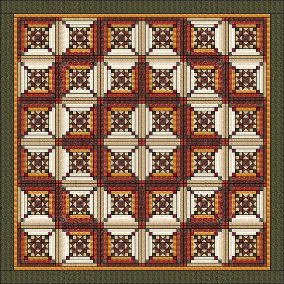 """Log Cabin Quilt Pattern - Ohio Star in Log Cabin -Star in the Cabin - King Size: 103"""" x 103"""""""