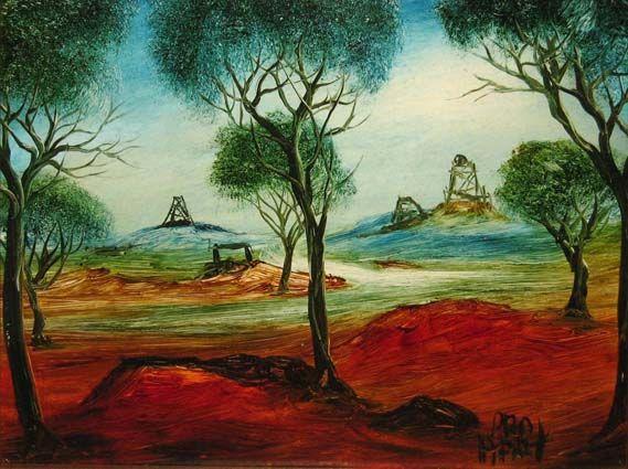 Pro Hart - Mining Landscape 1973. I always loved the way Pro Hart painted trees!