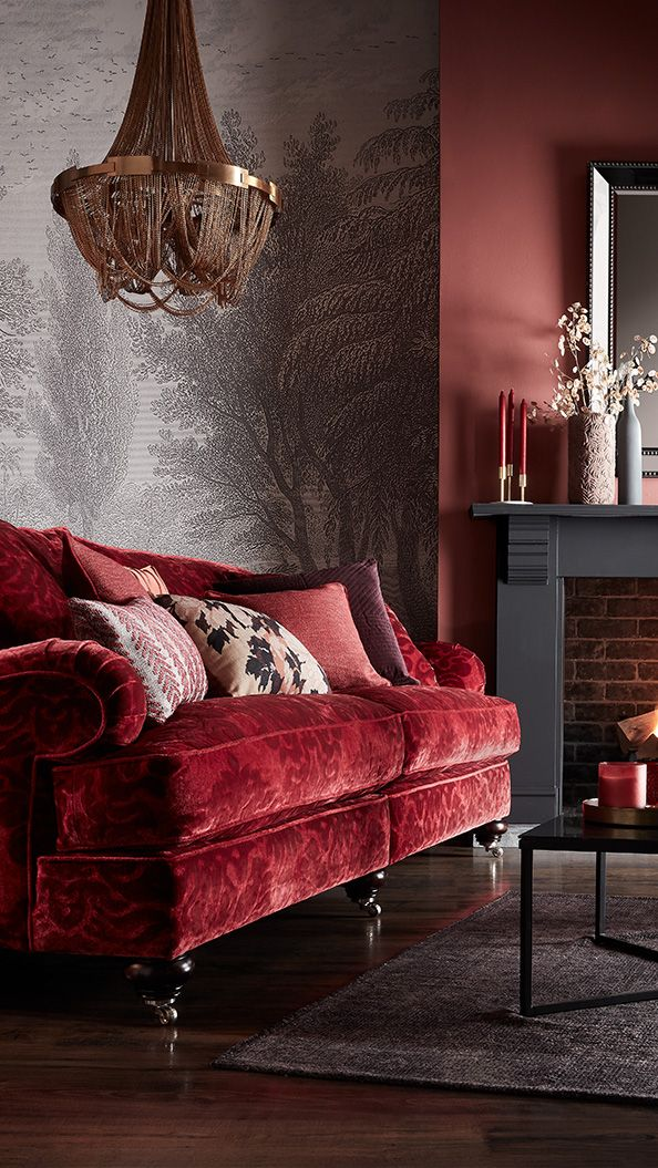 Styling For Sofology Wallpaper Woodchip Magnolia Red Velvet Sofa Wall Mural Pantone Colours Cravings Trend Traditional Sofa House Interior Interior Design