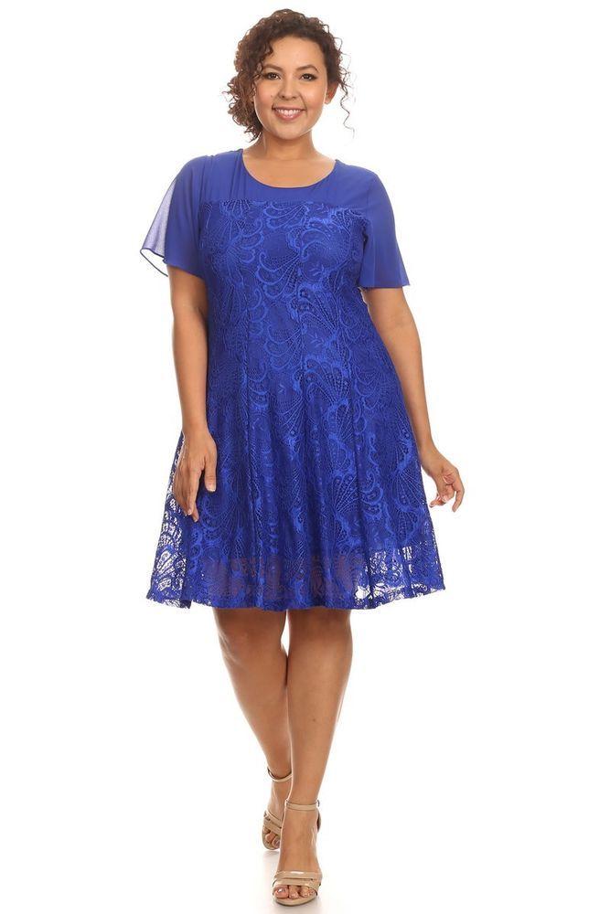 Royal Blue Laced Short Sleeve Plus Size Dress w/ Floral-Crochet Details - 3X #ECPlusSize #ShirtDress #Casual