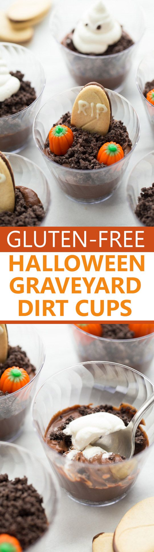 Halloween Graveyard Dirt Cups! Everyone loves these spooky treats! (Gluten-Free, Vegan)