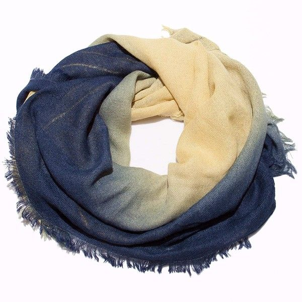 Callina - Ombre Hand Dyed Square Scarf Yellow To Midnight Blue ($160) ❤ liked on Polyvore featuring accessories, scarves, rectangular scarves, lightweight scarves, yellow scarves, square scarves and ombre scarves
