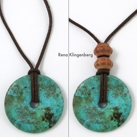how to make a leather bracelet   Glass pendant on leather cord – by itself, and with two brass beads: