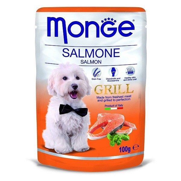 MONGE GRILL BUSTE SALMONE 100 G   Monge Dog Grill - Salmone - 100 Gr  0,50 €  https://www.pets-house.it/per-cani-adulti/4799-monge-grill-buste-salmone-100-g-8009470013123.html
