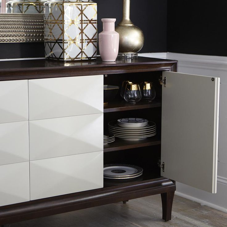 The Presidio Entertainment Credenza By Bassett Furniture Features 4  Adjustable Wood Shelves, Power Strip And