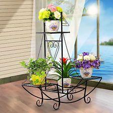 Nuevo 1 X Carro De Flores De Barco De Metal Hierro Vela planta de Tiesto Jardín Patio plantador Stand Dec