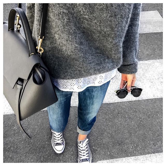 GREYS • Dita Jeans & Gaspard Jumper from @sezane • Sneakers #converse • Bag #celine • Top from @sweeties.by.aude.d • Sunnies by #dior • #fromwhereistand#metoday#todayimwearing#sezane#sezaneparis#knitwear#sweetiesbyauded