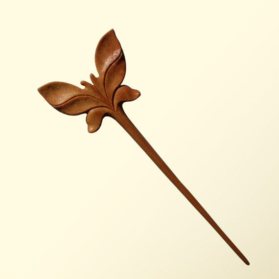 Wooden hair stick wood carving mahogany quot butterfly