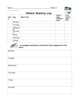 reading log for high school students template - daily reading log for high school students weekly
