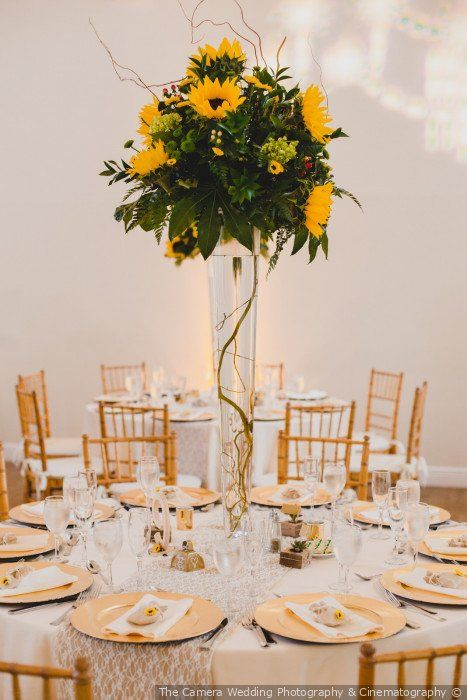 Gold White Wedding Table Setting Large Sunflower And Greenery Centerpiece Decor