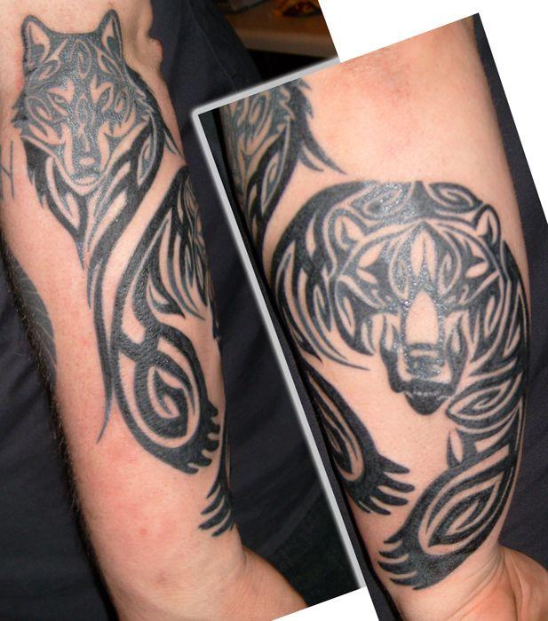 Tribal Bear And Wolf by NinjaSteen.deviantart.com on @DeviantArt