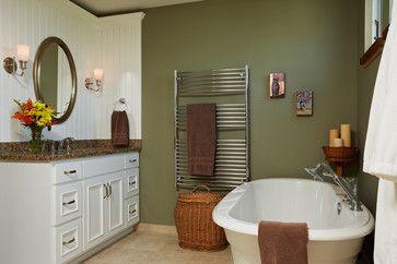 The Barn; master bath; freestanding tub; heated towel warmer; beadboard vanity w - farmhouse - Bathroom - Minneapolis - Waldenwood