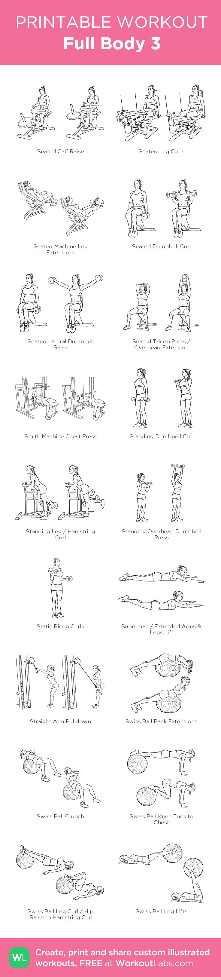Full Body 3: my visual workout created at WorkoutLabs.com • Click through to customize and download as a FREE PDF! #customworkout