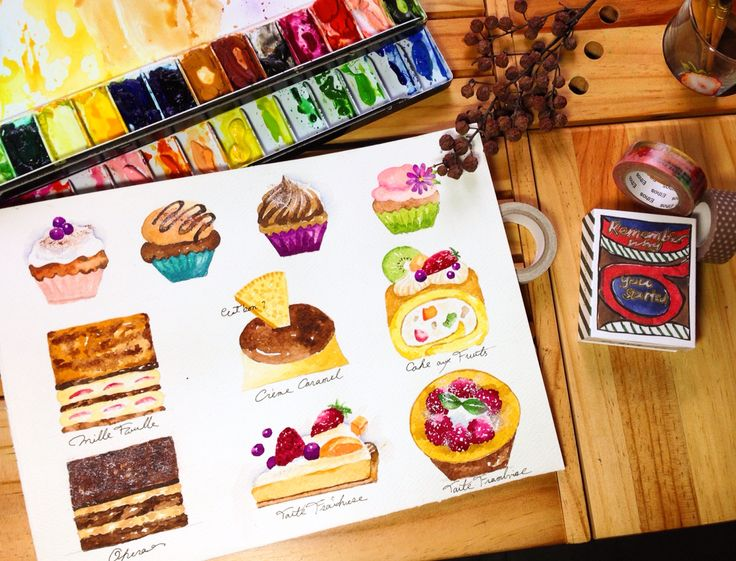 Cakes in watercolor