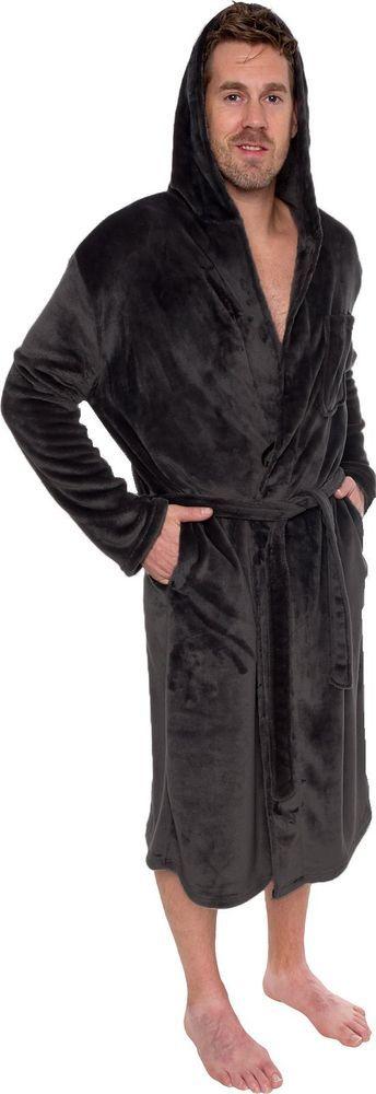 Mens Hooded Robe Plush Knee Length Shawl Kimono Bathrobe Lounge Black Large-XL #RossMichaels