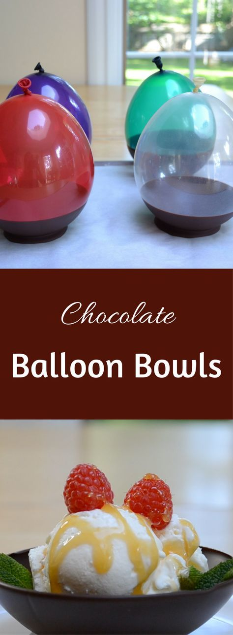 These edible chocolate bowls are so cute and are easy to make. Dip balloons in chocolate and form the shape of bowls! Great dessert recipe!