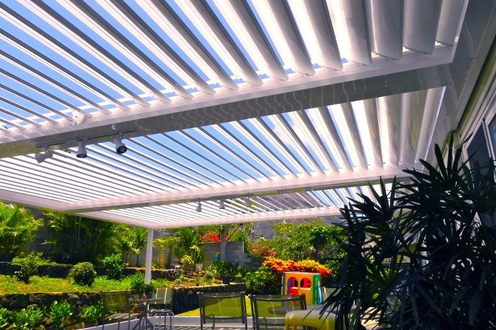 www.EcoShade.com - Three-Bay EcoShade Louvered Roof. Each bay is individually operable, so the owner could have any one bay open or closed, independent of the others.